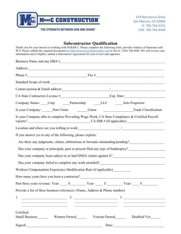 Subcontractor Qualification